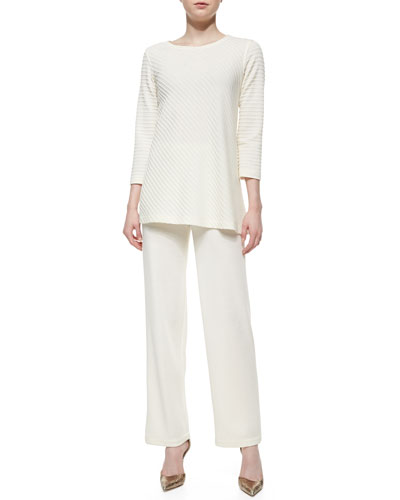 Ottoman Knit 3/4-Sleeve Tunic & Knit Flat-Front Straight-Leg Pants, Women's