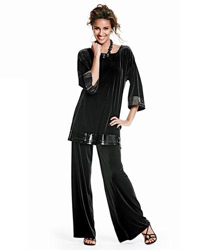 Velour Sequin-Trimmed Tunic & Velour Wide-Leg Pants, Women's