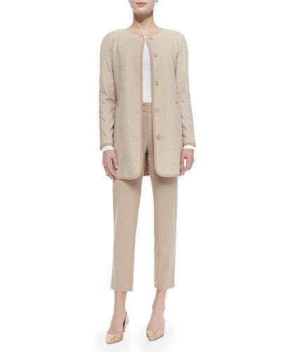 Silk Wool Herringbone Jacket, Fine Gauge Rib Knit Sweater & Emma Modern ...