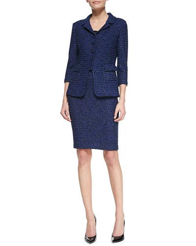 5-Button Blazer Jacket, Liquid Satin Tank & Pencil Skirt