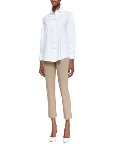 Barret Relaxed Button-Up Blouse & Venezia Ankle-Length Pants