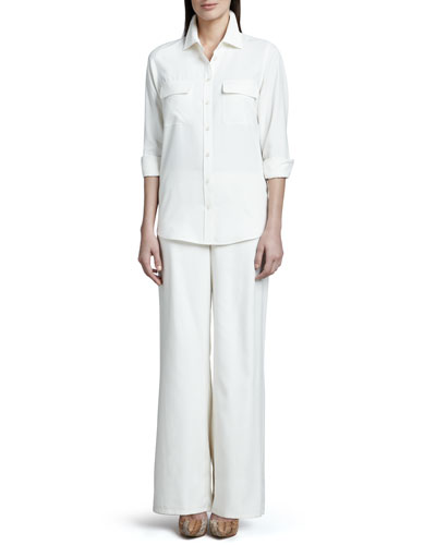 Safari Silk Shirt & Fuji Silk Full-Leg Pants, Women's