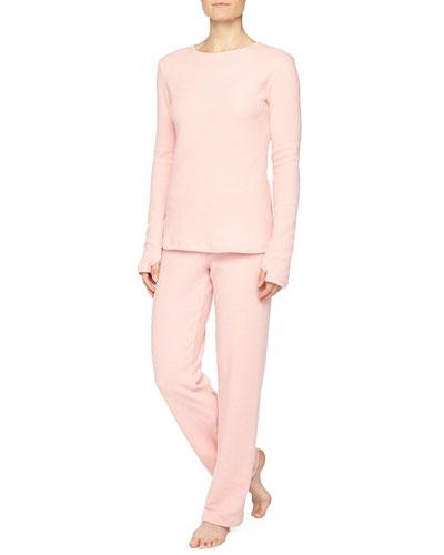 Aosta Long-Sleeve Fleece Top & Straight-Leg Pants, Rosa Sorbetto