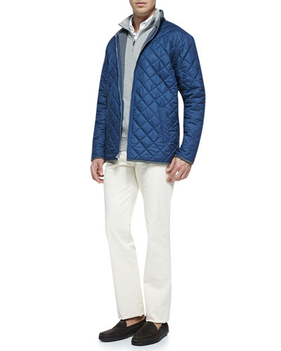 Navy Chesapeake Quilted Jacket, Cotton 1/2-Zip Pullover & New 5-Pocket Pants