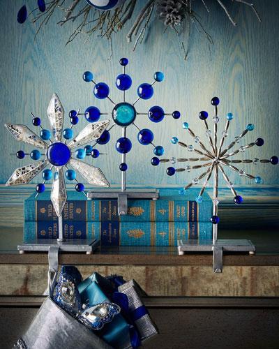 Blue Glass Christmas Stocking Hooks