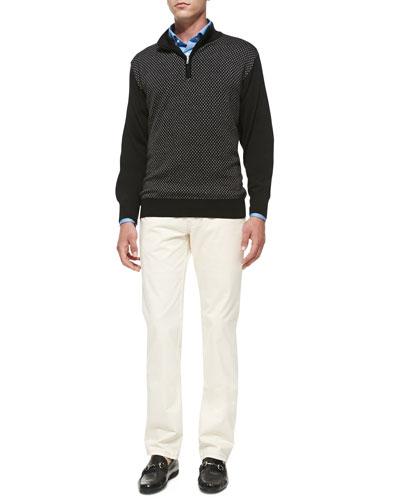 Thai Jacquard 1/2-Zip Sweater, Solid Brushed Cotton Shirt & New 5-Pocket ...