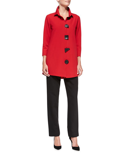 3/4-Sleeve Travel Gabardine Shirt & Travel Gabardine Slim Pants, Petite