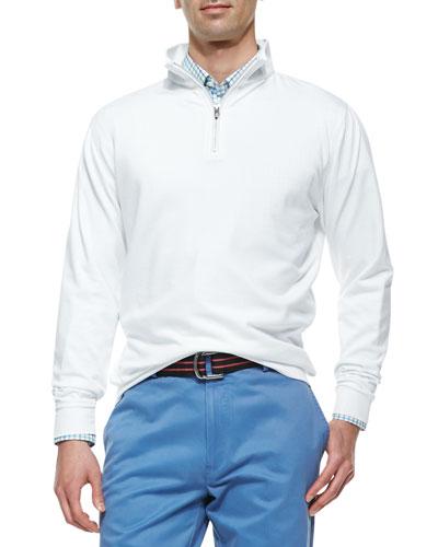 1/2-Zip Jersey Pullover Sweater & Cotton Tattersall Check Sport Shirt