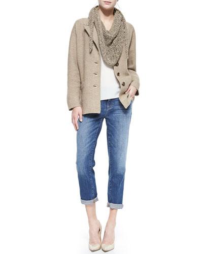 Merino Notch-Collar Three-Button Jacket, Fuzzy Fine Open Twist Scarf, ...