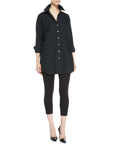 Go Silk Solid Big Long-Sleeve Shirt & Stretch-Knit Cropped Leggings, Women's