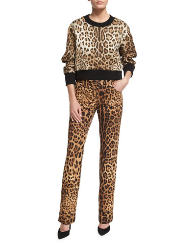 Leopard-Print Top with Knit Collar & Cuffs & Cropped Leopard-Print Brocade Pants