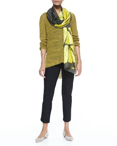Slub-Knit V-Neck Tunic, Long Slim Camisole, Stretch-Crepe Ankle Pants & ...