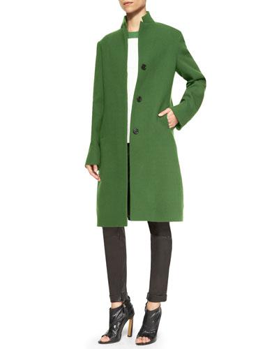 Wool Colorblock Stand-Collar Long Coat, Colorblock Short-Sleeve T-Shirt & ...