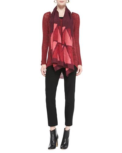 Slub-Knit V-Neck Tunic, Washable Stretch-Crepe Ankle Pants & Silk Shibori ...