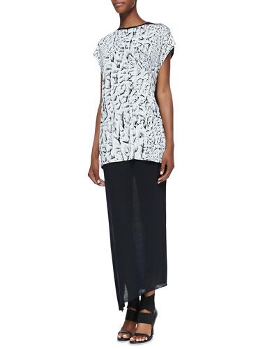 Strata Printed/Solid Slub Tank & Kinetic Jersey Long Wrap Skirt