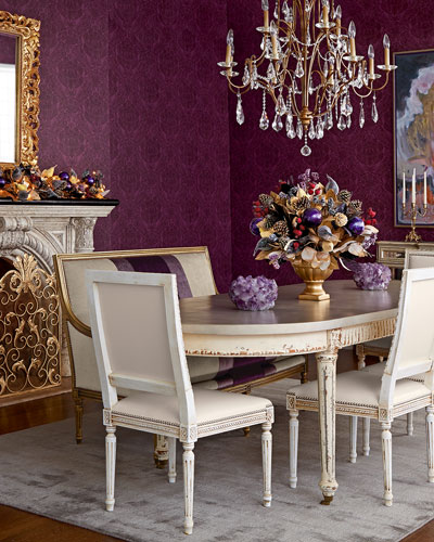 Melissa Dining Chair, Lilah Settee, & Doucette Dining Table