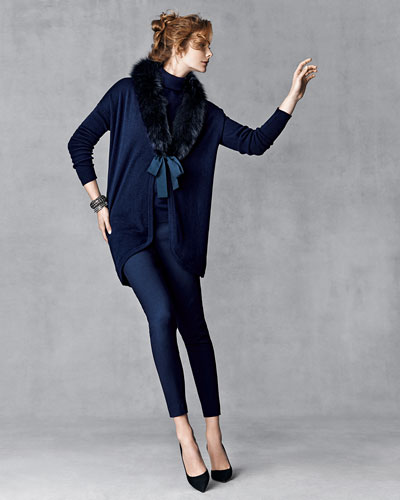 Cashmere Cardigan w/ Fox Fur Collar, Cashmere-Blend Turtleneck Sweater & Crosby Textured Ankle Pants