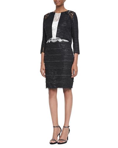 3/4-Sleeve Cropped Lace-Shoulder Jacket & Sleeveless Lace-Bodice Sheath Dress