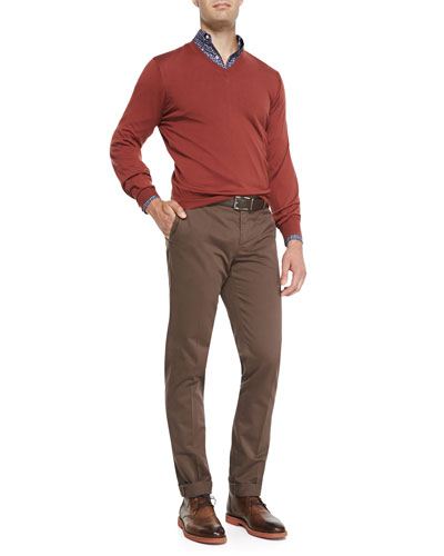 Fine-Gauge Tipped V-Neck Sweater, Check Button-Collar Shirt & Piece-Dyed ...