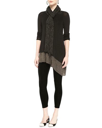 Long-Sleeve Asymmetric Tunic, Long Slim Camisole, Velvet Ankle Leggings & ...