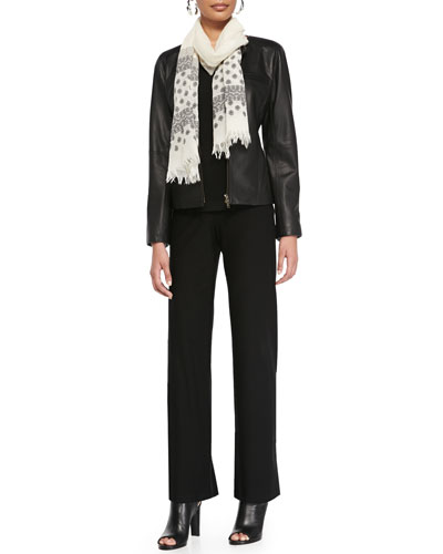 Lambskin Leather Shaped Jacket, Silk Jersey 3/4-Sleeve Top, Modern Wide-Leg ...
