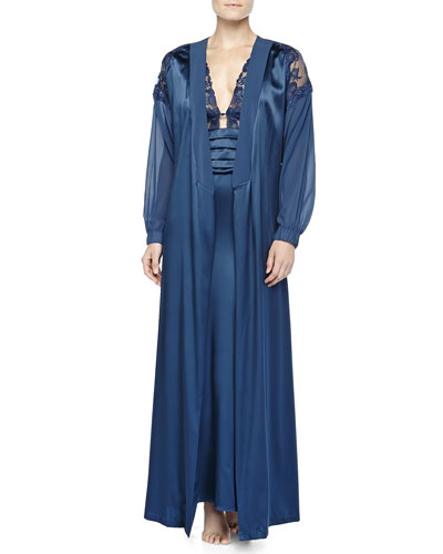 Ricamato Lace-Tulle Satin Robe & Gown, Blue