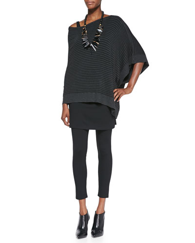 Cozy Striped Off-the-Shoulder Poncho, Slim Tank & Skirted Ankle Leggings