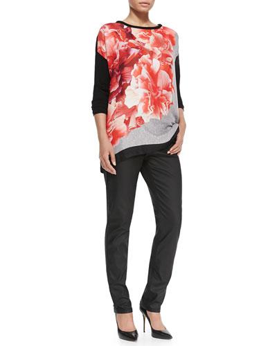 Graphic Print Long-Sleeve Sweater & Ribelle Slim-Leg Wax Denim Jean, Women's