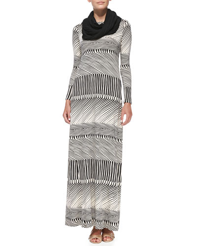 Stormy Long-Sleeve Maxi Dress & Ribbed Sweater Scarf