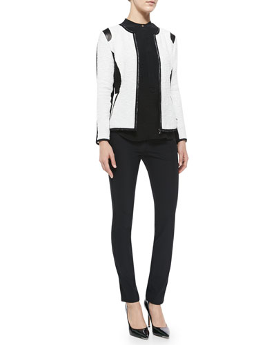 Textured Knit Fitted Jacket, Textured Silk Top & Ava Slim-Leg Techy Pants ...