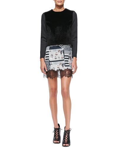 Ponte/Faux-Fur Top & Family McMurrough Lace-Hem Dress