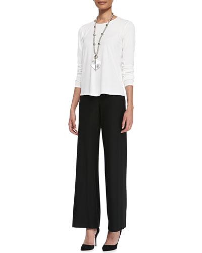 Long-Sleeve Silk Crewneck Tee & Washable Crepe Modern Wide-Leg Pants