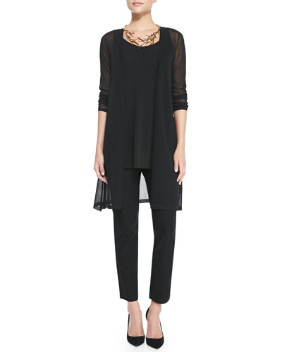 Gossamer Crepe Open Cardigan, Long Silk Jersey Tunic & Crepe Slim Ankle ...