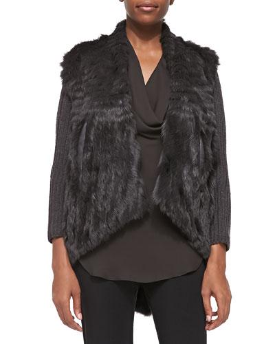 Detachable-Sleeve Rabbit Fur Jacket & Silk Cowl Halter Tank Top