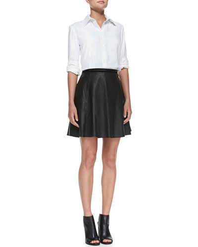Piper French-Cuff Blouse & Lambskin Leather A-line Skirt