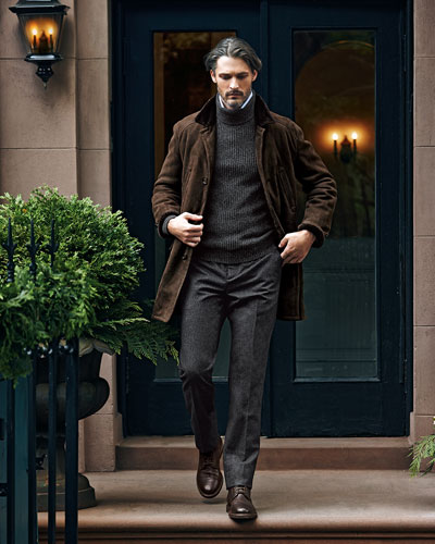 Shearling Fur-Lined Suede Jacket, Melange Cashmere Shaker-Knit Sweater, Fine-Stripe Poplin Shirt & Single-Pleat Wool Trousers