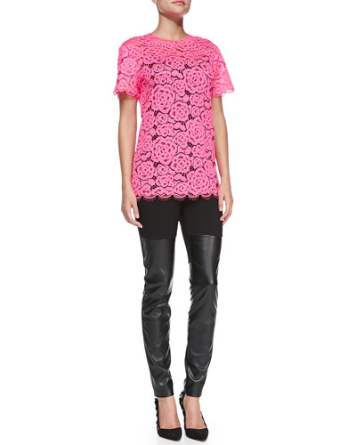 Short-Sleeve Floral Lace Top & Faux-Leather Jersey Leggings