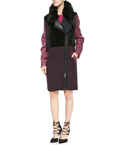 Leather/Knit/Shearling Zip Coat & Knit Cap-Sleeve Side-Zip Dress