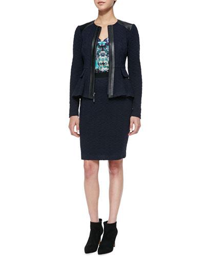 Keyhole Leather-Trim Textured Jacket, Tease Me Floral-Print Satin Tank & ...