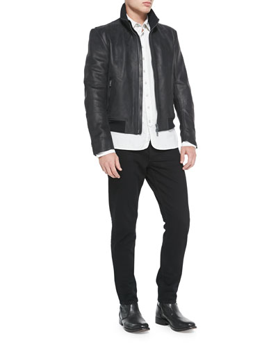 Seth Leather Jacket, 3/4-Placket Striped Woven Shirt & Skinny Denim Jeans