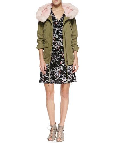 Fur-Trim Twill Parka Jacket & Dragonfly-Print Relaxed Silk Dress