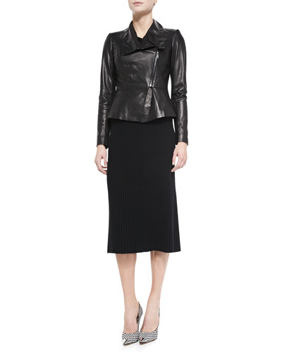 Estelle Lambskin Jacket & Pleated A-line Knit Skirt