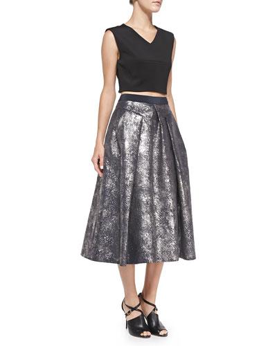 Sleeveless V-Neck Crop Top & Pleated Foil Matelass?? Skirt