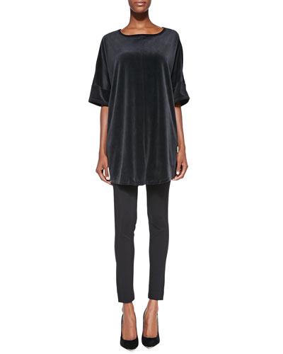 Long-Sleeve Velour Tunic & Seamed Ponte Leggings, Women's