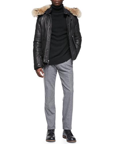 Pebbled Leather Jacket with Fur Hood, Rib-Trim Cashmere Turtleneck & ...