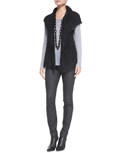 Airy Alpaca Mesh Vest, Long-Sleeve Tee & Waxed Stretch Skinny Jeans