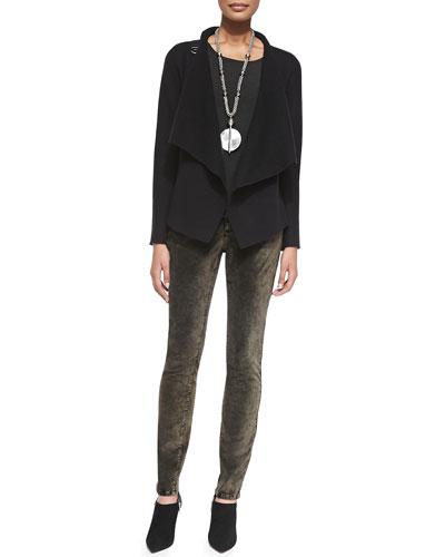 Bias-Twisted Wool Drape Jacket & Velveteen Skinny Jeans, Petite