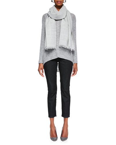 Slub-Knit V-Neck Tunic Heathered Wool Sparkle Scarf & Slim Stretch Ankle ...
