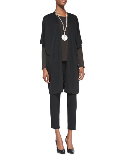 Aegean Long Kimono Jacket, Long-Sleeve Slim Jersey Tee & Slouchy Tapered Pants