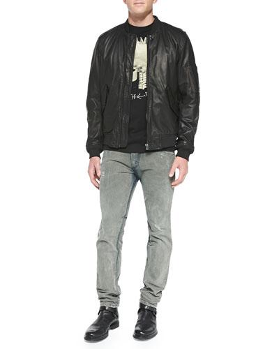 Devra Lightweight Leather Bomber Jacket, T-Feddo Skull-Mohawk Tee & Belther ...